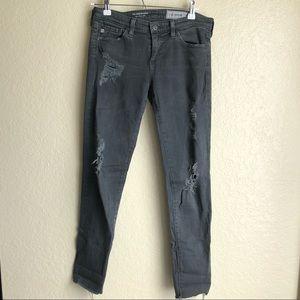 AG Dark Gray Legging Ankle Skinny Jean Distressed